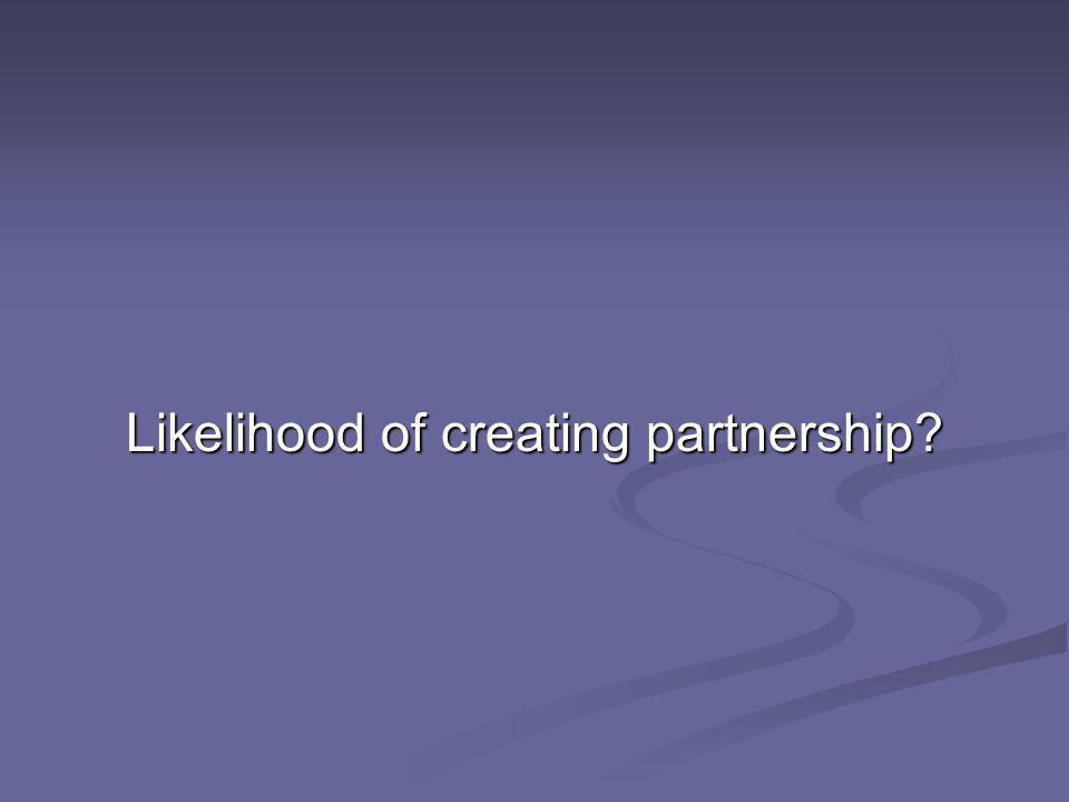 Likelihood of creating partnership