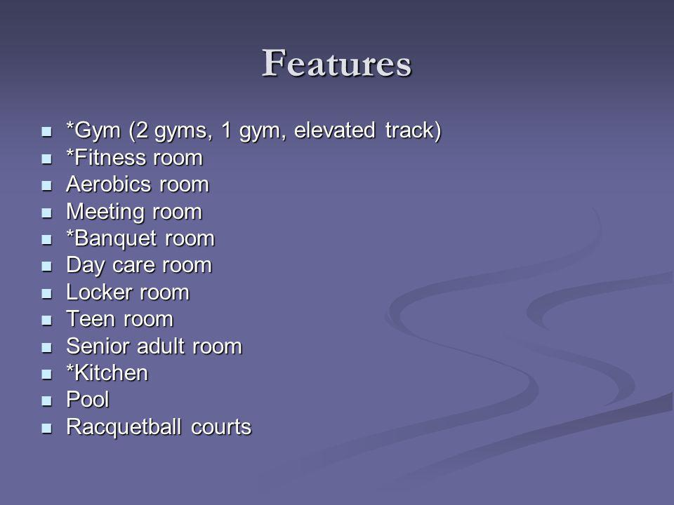 Features *Gym (2 gyms, 1 gym, elevated track) *Gym (2 gyms, 1 gym, elevated track) *Fitness room *Fitness room Aerobics room Aerobics room Meeting room Meeting room *Banquet room *Banquet room Day care room Day care room Locker room Locker room Teen room Teen room Senior adult room Senior adult room *Kitchen *Kitchen Pool Pool Racquetball courts Racquetball courts