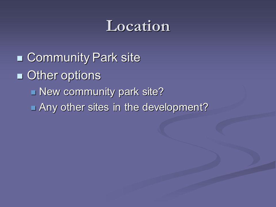 Location Community Park site Community Park site Other options Other options New community park site.
