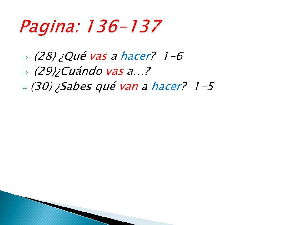 ⇒ (28) ¿Qué vas a hacer 1-6 ⇒ (29)¿Cuándo vas a… ⇒ (30) ¿Sabes qué van a hacer 1-5