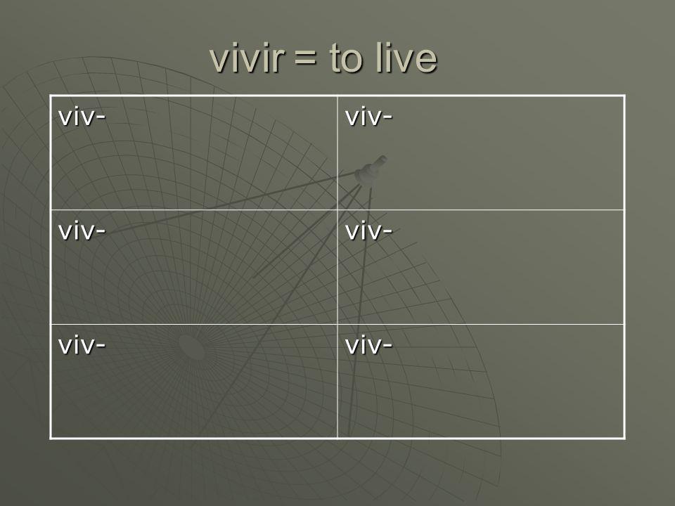 vivir = to live viv-viv- viv-viv- viv-viv-