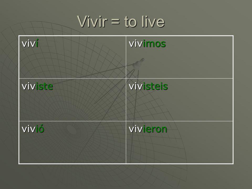 Vivir = to live viví vivimos viviste vivisteis vivió vivieron