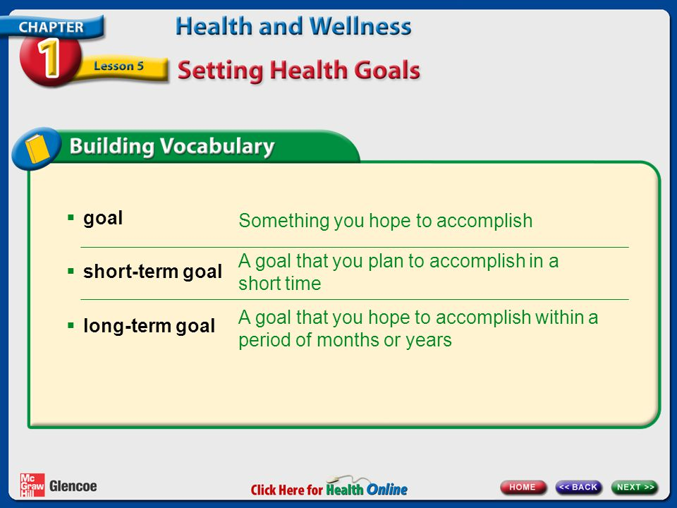 In this lesson, you will learn to  explain why having goals is important.