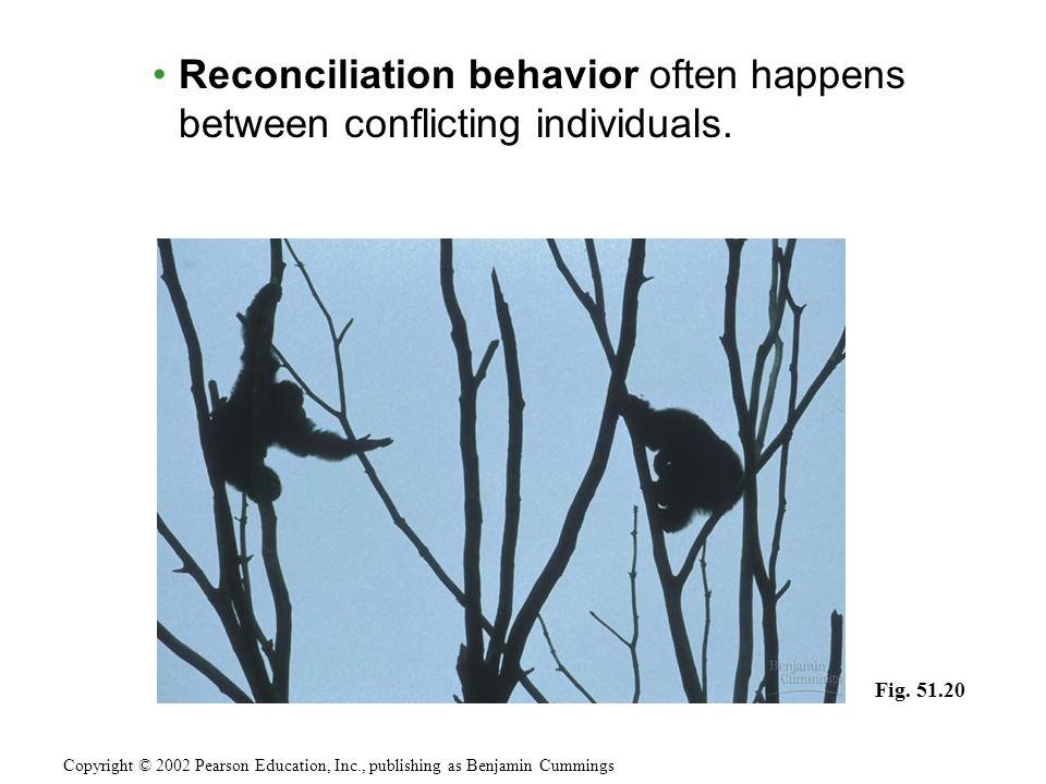 Reconciliation behavior often happens between conflicting individuals. Copyright © 2002 Pearson Education, Inc., publishing as Benjamin Cummings Fig.