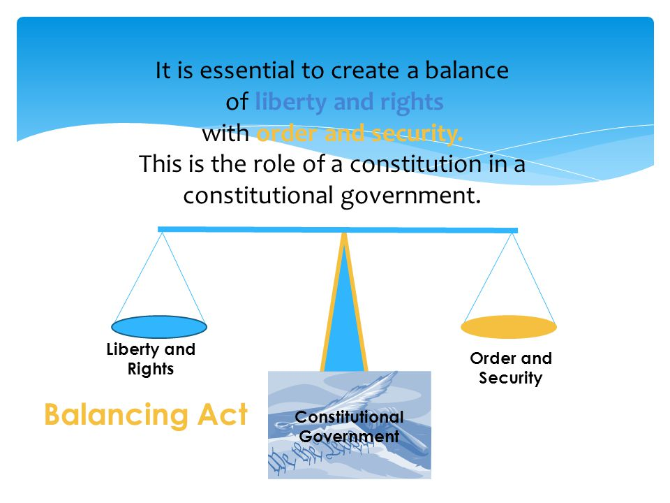 Liberty and Rights Order and Security It is essential to create a balance of liberty and rights with order and security.