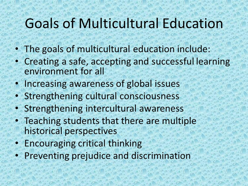Goals of Multicultural Education The goals of multicultural education include: Creating a safe, accepting and successful learning environment for all Increasing awareness of global issues Strengthening cultural consciousness Strengthening intercultural awareness Teaching students that there are multiple historical perspectives Encouraging critical thinking Preventing prejudice and discrimination