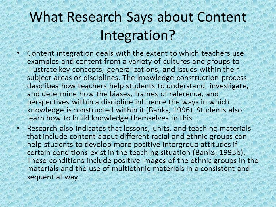 What Research Says about Content Integration.