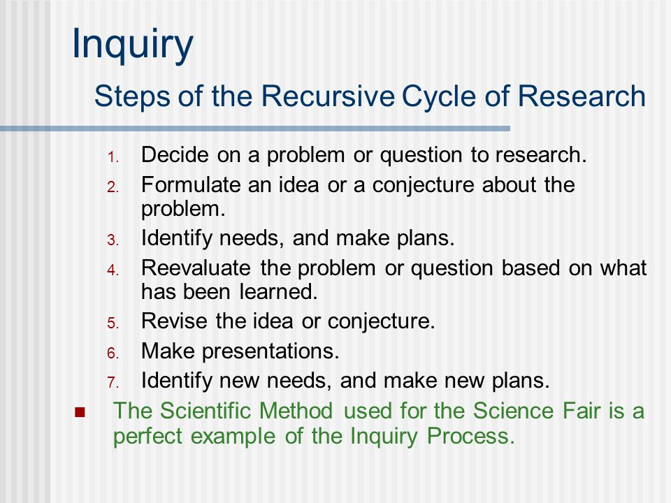 Inquiry Steps of the Recursive Cycle of Research 1.