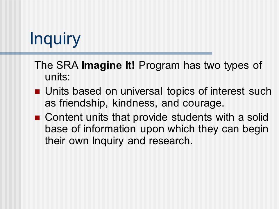 Inquiry The SRA Imagine It.