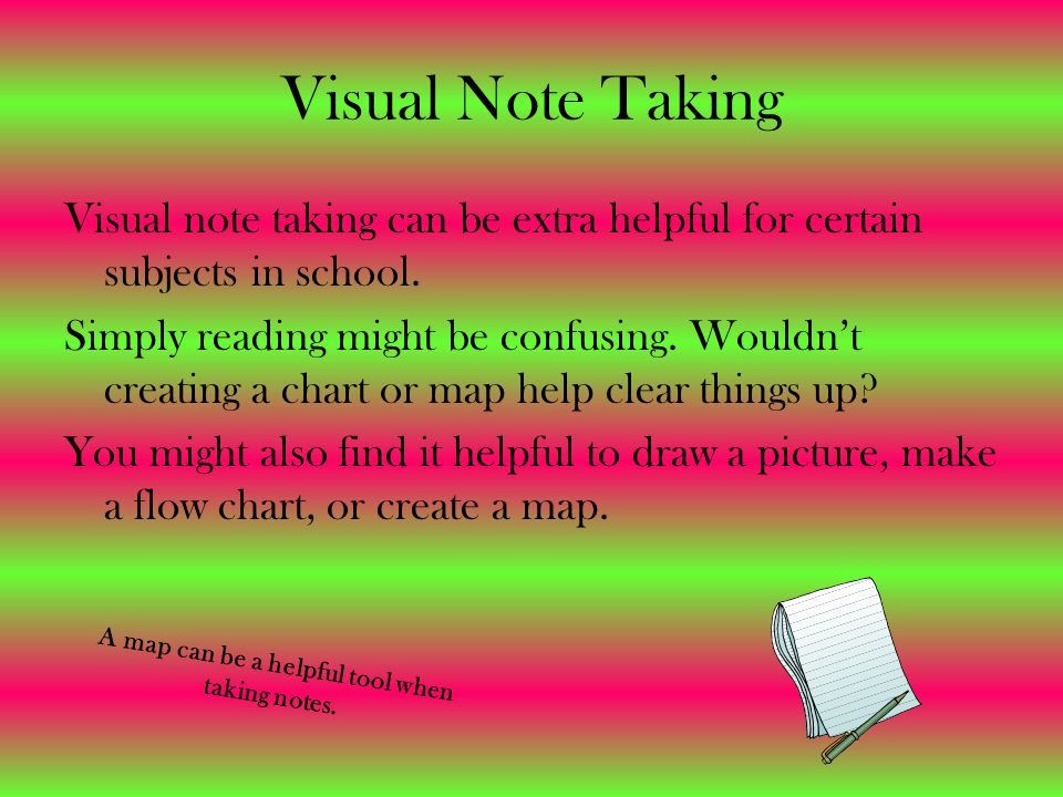 Visual Note Taking Visual note taking can be extra helpful for certain subjects in school.