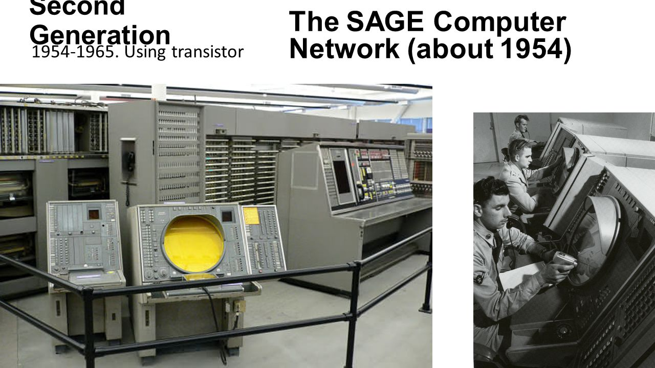 Second Generation 1954-1965. Using transistor The SAGE Computer Network (about 1954)