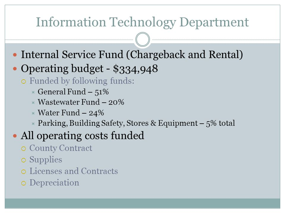 Information Technology Department Internal Service Fund (Chargeback and Rental) Operating budget - $334,948  Funded by following funds:  General Fund – 51%  Wastewater Fund – 20%  Water Fund – 24%  Parking, Building Safety, Stores & Equipment – 5% total All operating costs funded  County Contract  Supplies  Licenses and Contracts  Depreciation