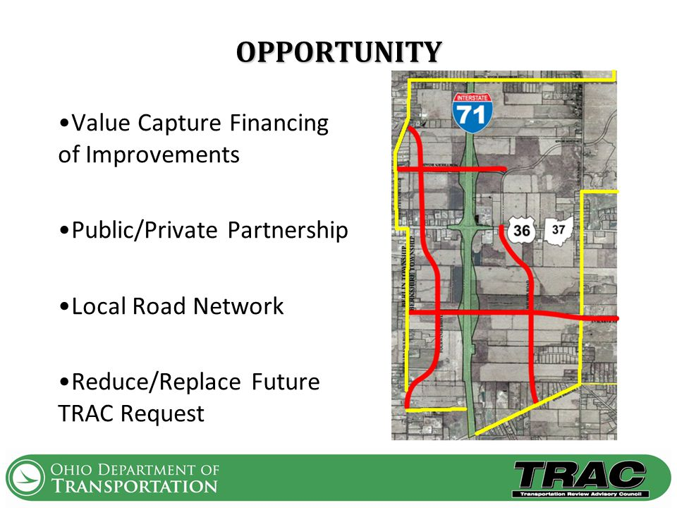 OPPORTUNITY Value Capture Financing of Improvements Public/Private Partnership Local Road Network Reduce/Replace Future TRAC Request