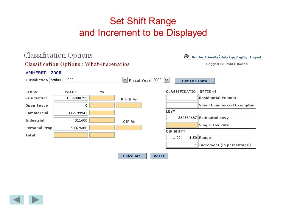Set Shift Range and Increment to be Displayed