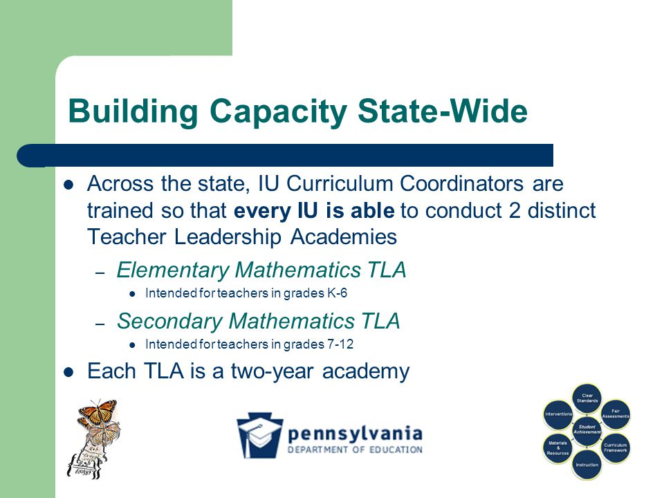 Building Capacity State-Wide Across the state, IU Curriculum Coordinators are trained so that every IU is able to conduct 2 distinct Teacher Leadership Academies – Elementary Mathematics TLA Intended for teachers in grades K-6 – Secondary Mathematics TLA Intended for teachers in grades 7-12 Each TLA is a two-year academy