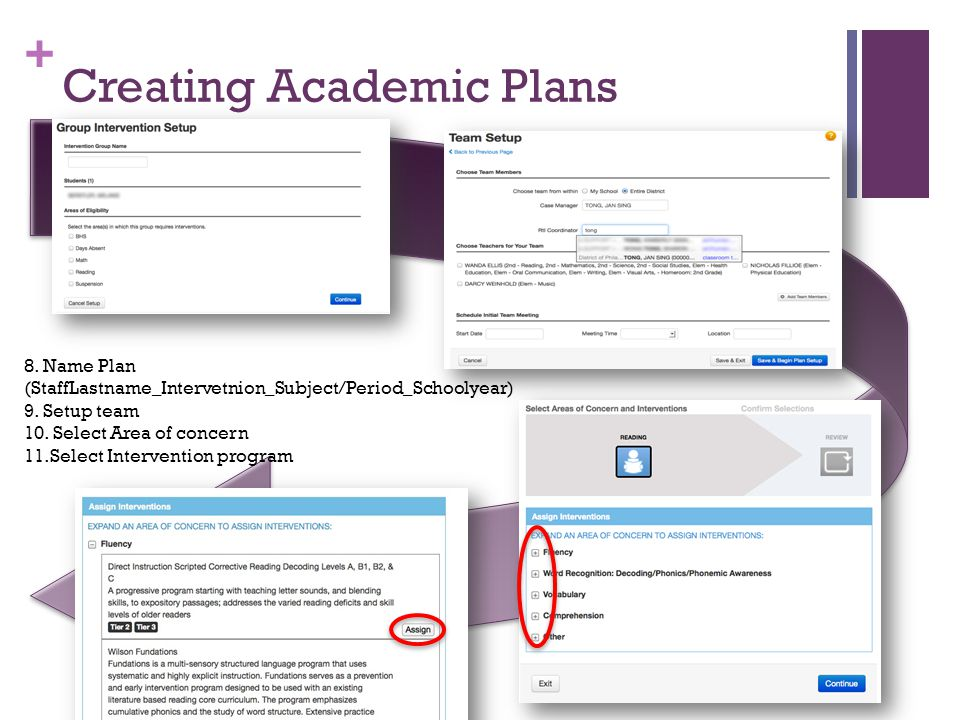 + Creating Academic Plans 8. Name Plan (StaffLastname_Intervetnion_Subject/Period_Schoolyear) 9. Setup team 10. Select Area of concern 11.Select Inter