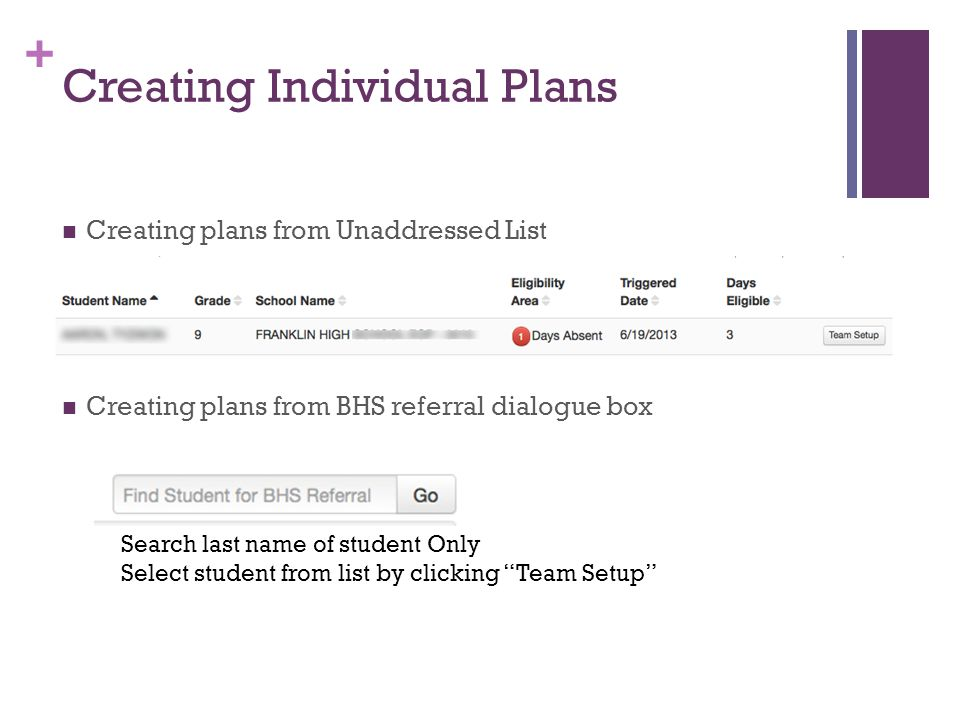 + Creating Individual Plans Creating plans from Unaddressed List Creating plans from BHS referral dialogue box Search last name of student Only Select