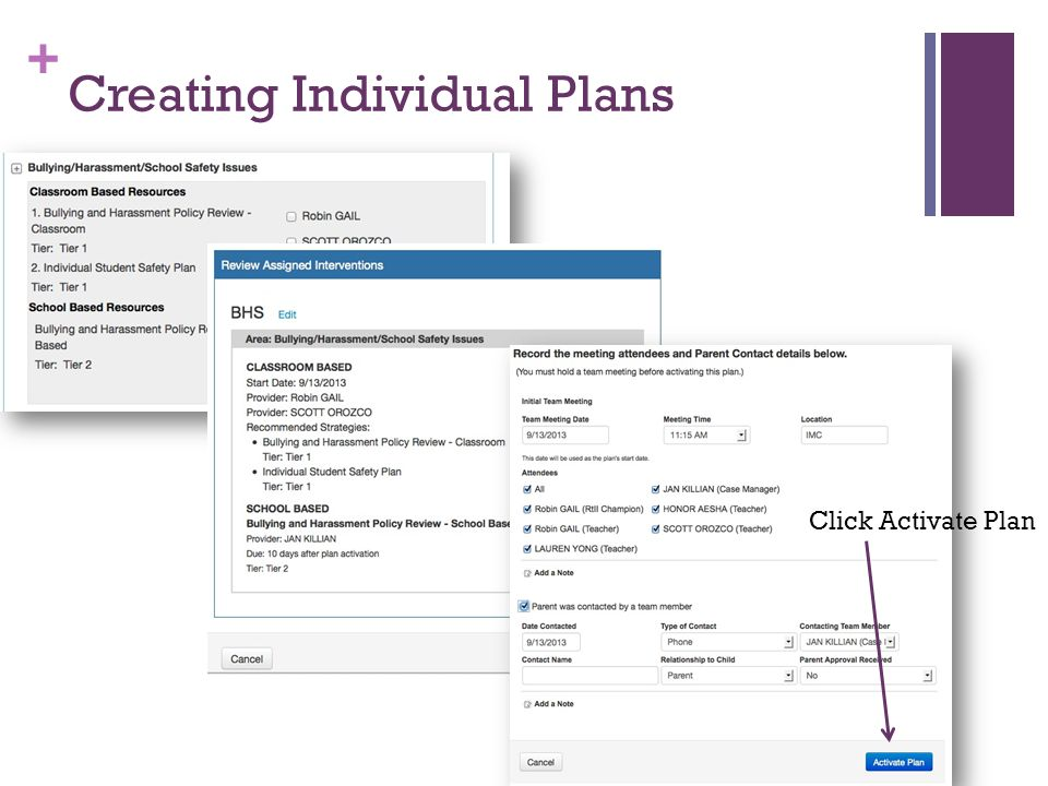 + Creating Individual Plans Click Activate Plan
