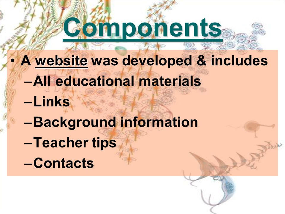 Components websiteA website was developed & includes –All educational materials –Links –Background information –Teacher tips –Contacts