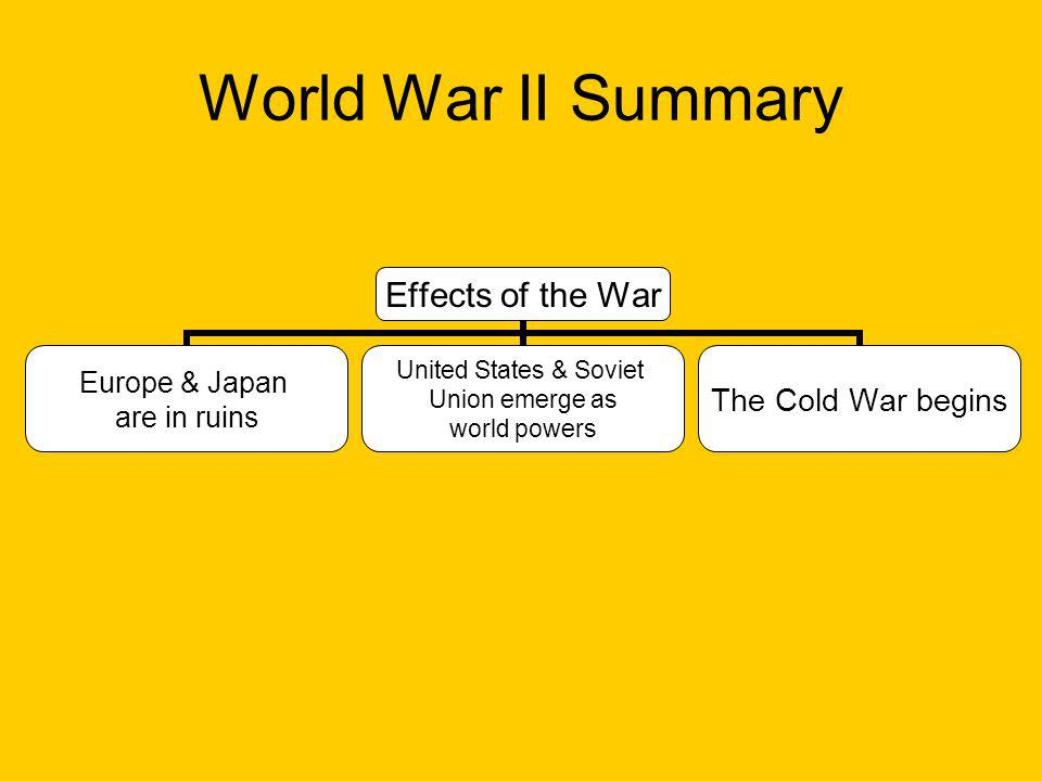 World War II Summary Effects of the War Europe & Japan are in ruins United States & Soviet Union emerge as world powers The Cold War begins