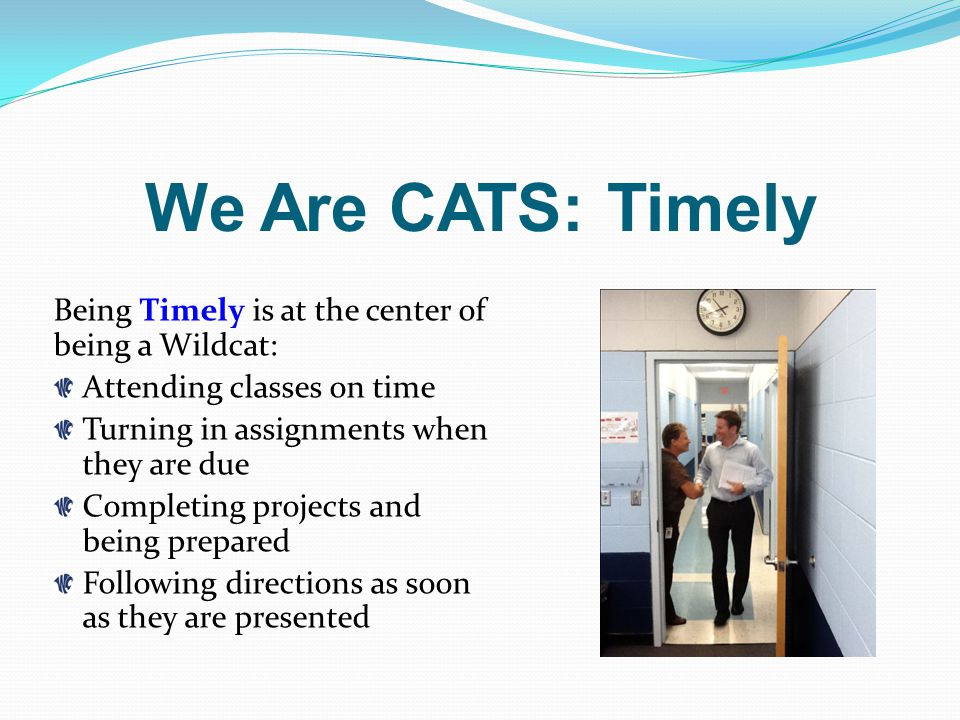 We Are CATS: Timely Being Timely is at the center of being a Wildcat: Attending classes on time Turning in assignments when they are due Completing projects and being prepared Following directions as soon as they are presented