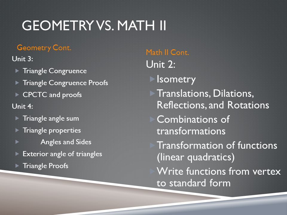 GEOMETRY VS. MATH II Geometry Cont. Math II Cont.