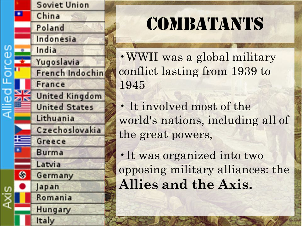 Combatants WWII was a global military conflict lasting from 1939 to 1945 It involved most of the world s nations, including all of the great powers, It was organized into two opposing military alliances: the Allies and the Axis.
