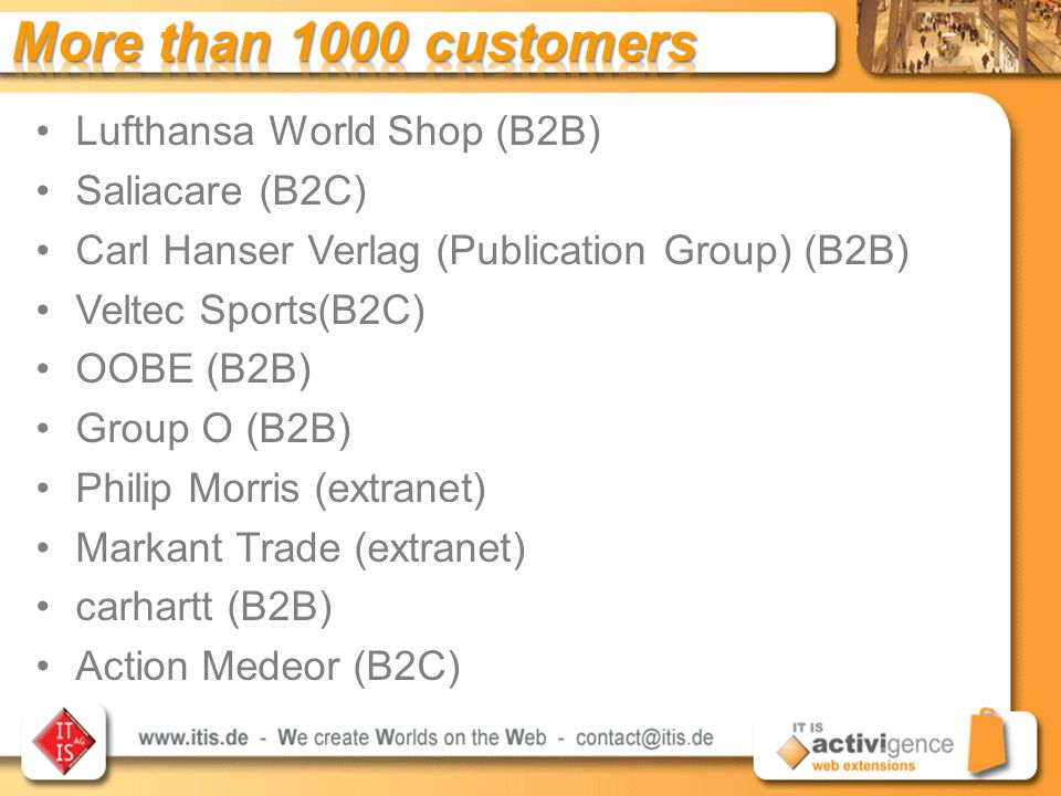 Lufthansa World Shop (B2B) Saliacare (B2C) Carl Hanser Verlag (Publication Group) (B2B) Veltec Sports(B2C) OOBE (B2B) Group O (B2B) Philip Morris (extranet) Markant Trade (extranet) carhartt (B2B) Action Medeor (B2C)