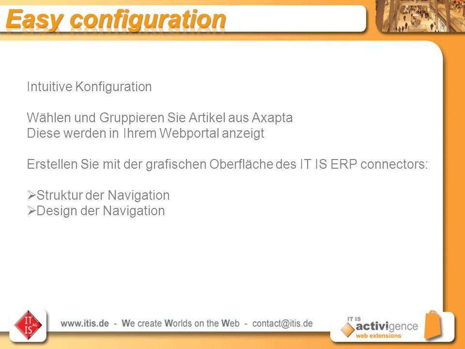 Intuitive Konfiguration Wählen und Gruppieren Sie Artikel aus Axapta Diese werden in Ihrem Webportal anzeigt Erstellen Sie mit der grafischen Oberfläche des IT IS ERP connectors:  Struktur der Navigation  Design der Navigation