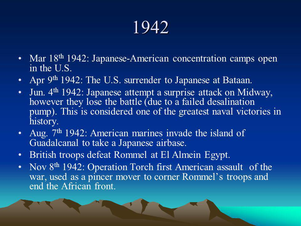 1942 Mar 18 th 1942: Japanese-American concentration camps open in the U.S.