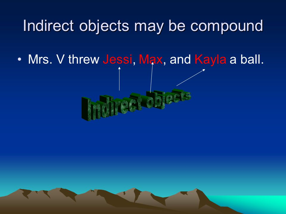 Indirect objects may be compound Mrs. V threw Jessi, Max, and Kayla a ball.