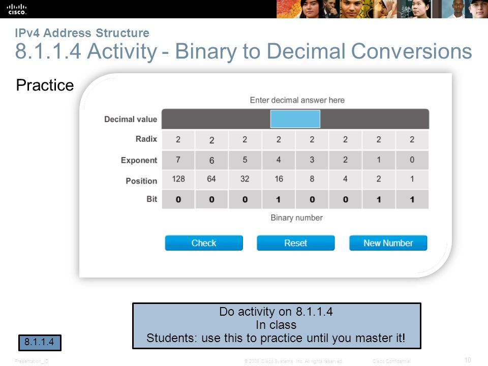 Presentation_ID 10 © 2008 Cisco Systems, Inc. All rights reserved.Cisco Confidential IPv4 Address Structure 8.1.1.4 Activity - Binary to Decimal Conve