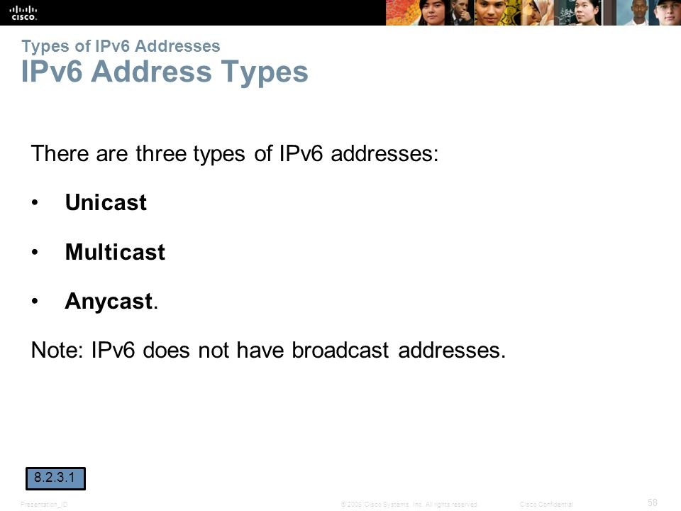 Presentation_ID 58 © 2008 Cisco Systems, Inc. All rights reserved.Cisco Confidential Types of IPv6 Addresses IPv6 Address Types There are three types