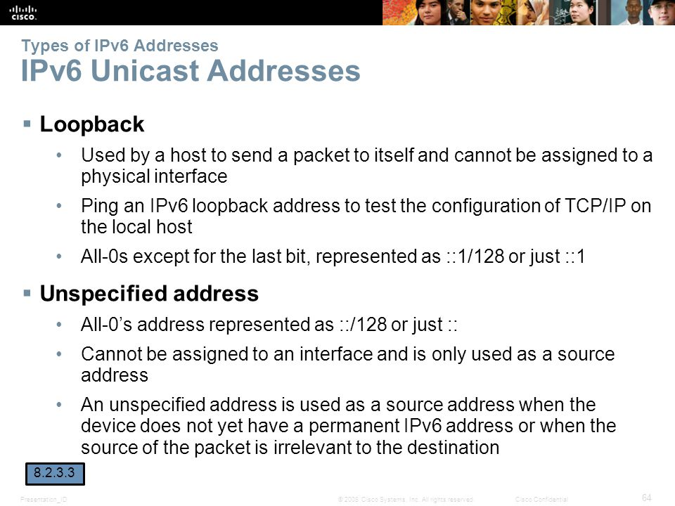 Presentation_ID 64 © 2008 Cisco Systems, Inc. All rights reserved.Cisco Confidential Types of IPv6 Addresses IPv6 Unicast Addresses  Loopback Used by