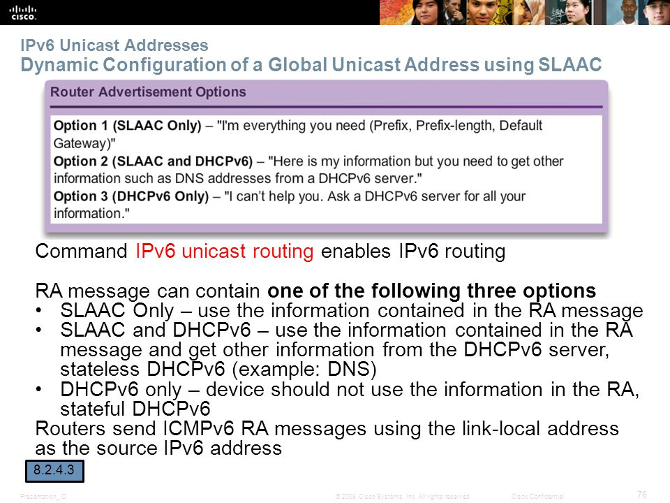 Presentation_ID 76 © 2008 Cisco Systems, Inc. All rights reserved.Cisco Confidential IPv6 Unicast Addresses Dynamic Configuration of a Global Unicast