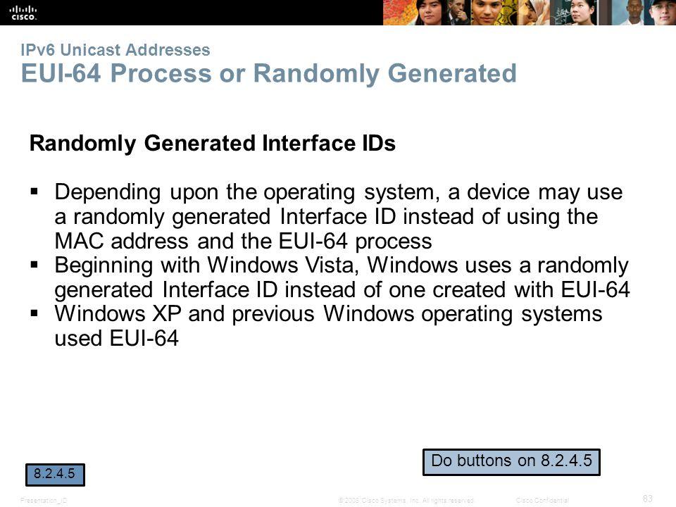 Presentation_ID 83 © 2008 Cisco Systems, Inc. All rights reserved.Cisco Confidential IPv6 Unicast Addresses EUI-64 Process or Randomly Generated Rando