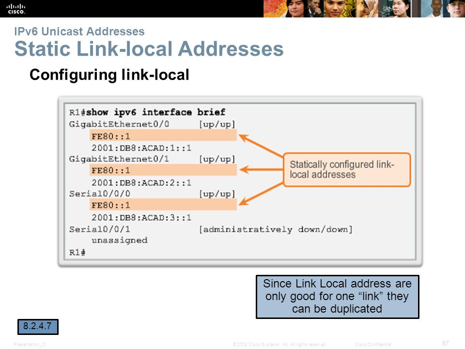 Presentation_ID 87 © 2008 Cisco Systems, Inc. All rights reserved.Cisco Confidential IPv6 Unicast Addresses Static Link-local Addresses Configuring li