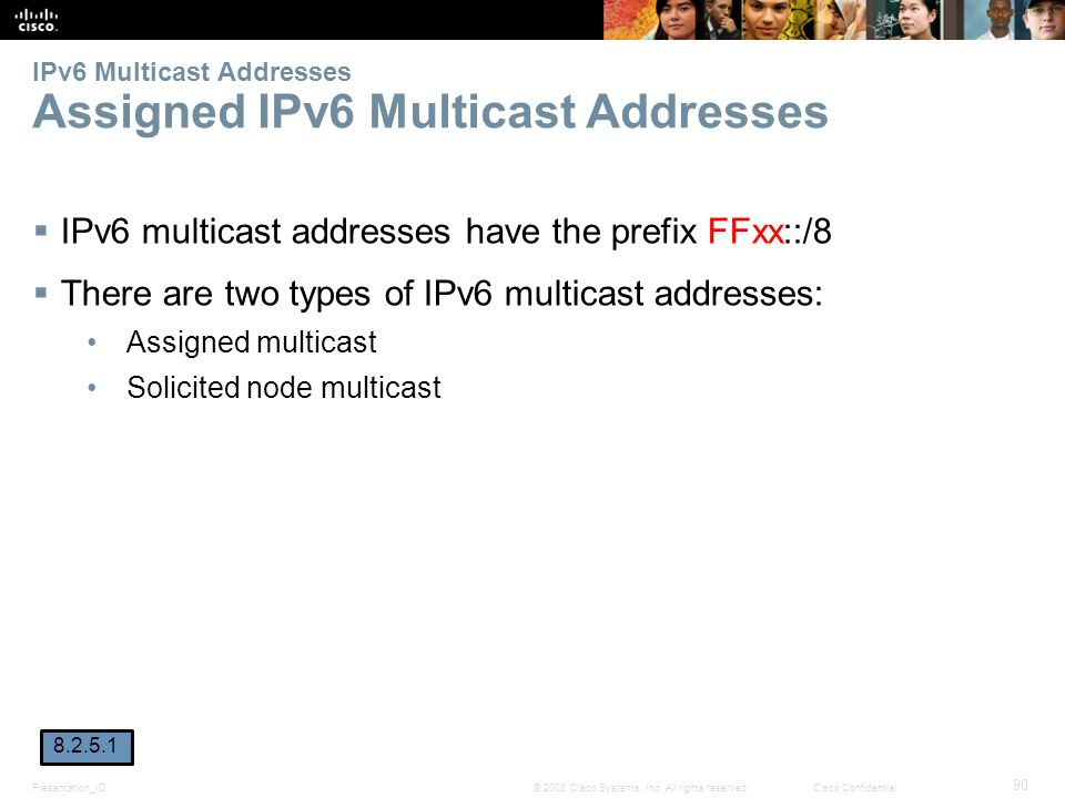 Presentation_ID 90 © 2008 Cisco Systems, Inc. All rights reserved.Cisco Confidential IPv6 Multicast Addresses Assigned IPv6 Multicast Addresses  IPv6