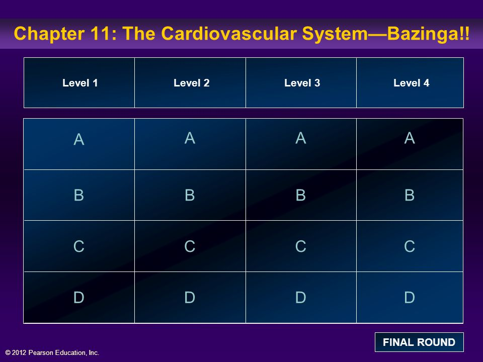 © 2012 Pearson Education, Inc.Chapter 11: The Cardiovascular System—Bazinga!.