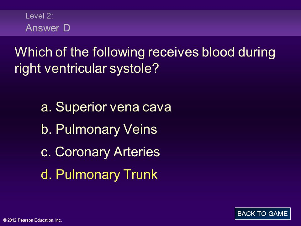 © 2012 Pearson Education, Inc. Level 2: Answer D Which of the following receives blood during right ventricular systole? a. Superior vena cava b. Pulm