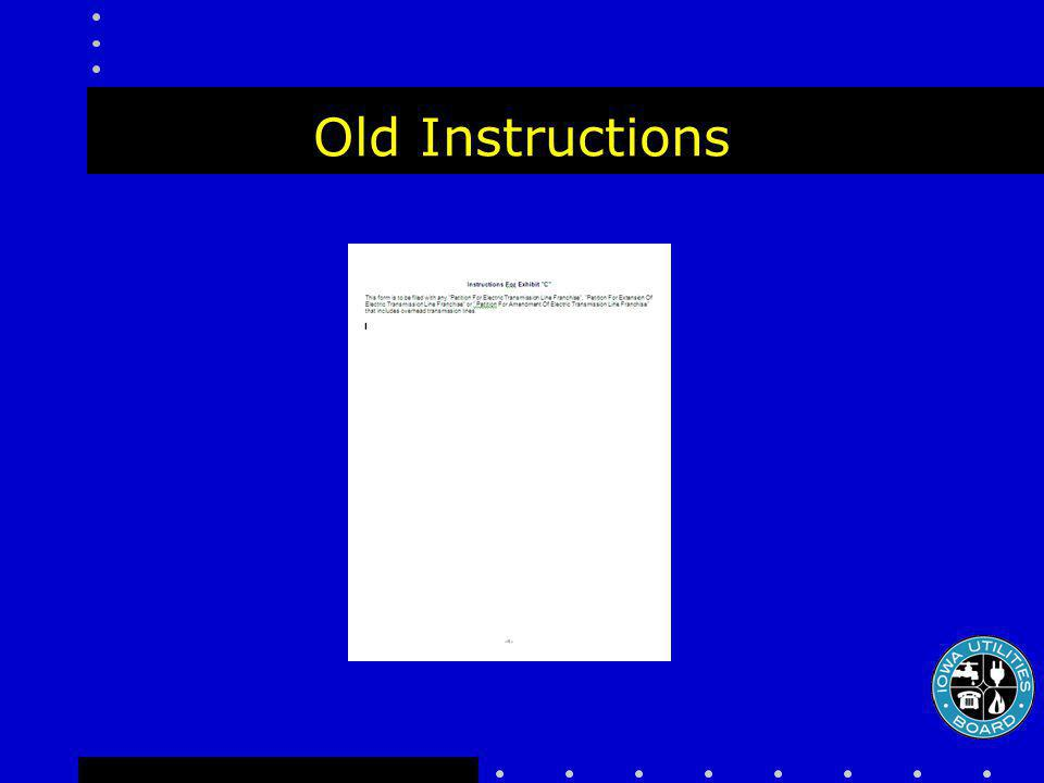 Old Instructions
