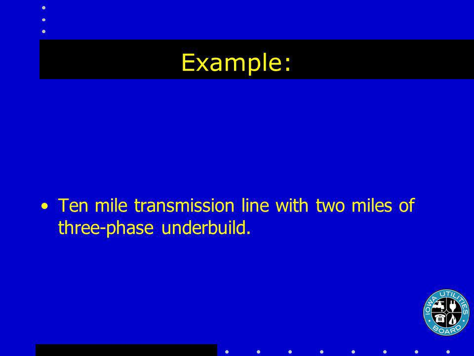 Example: Ten mile transmission line with two miles of three-phase underbuild.