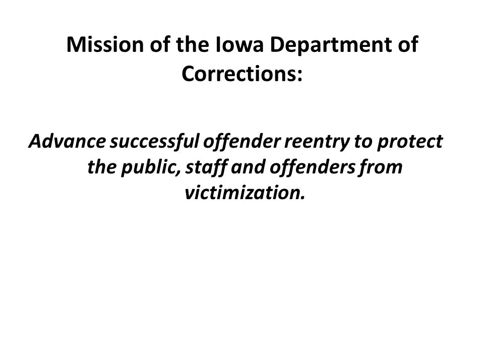 Organization of the Department of Corrections The Department of Corrections (DOC) is a state government agency which is part of the Executive branch and is headed by the Director of Corrections, a cabinet officer appointed by the Governor.