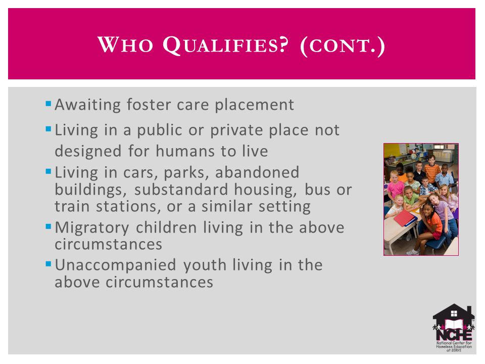  Awaiting foster care placement  Living in a public or private place not designed for humans to live  Living in cars, parks, abandoned buildings, s