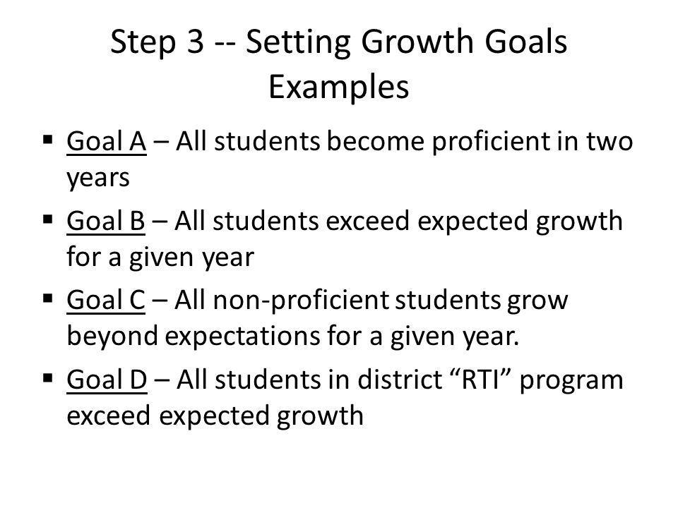 Step 3 -- Setting Growth Goals Examples  Goal A – All students become proficient in two years  Goal B – All students exceed expected growth for a given year  Goal C – All non-proficient students grow beyond expectations for a given year.