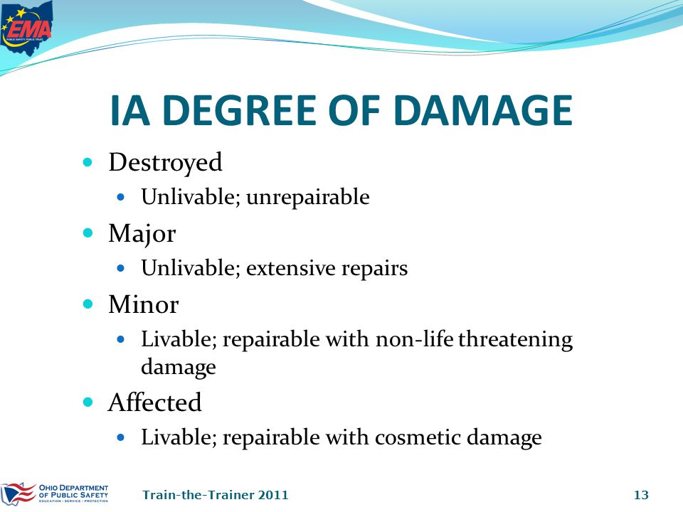 IA DEGREE OF DAMAGE Destroyed Unlivable; unrepairable Major Unlivable; extensive repairs Minor Livable; repairable with non-life threatening damage Affected Livable; repairable with cosmetic damage 13Train-the-Trainer 2011