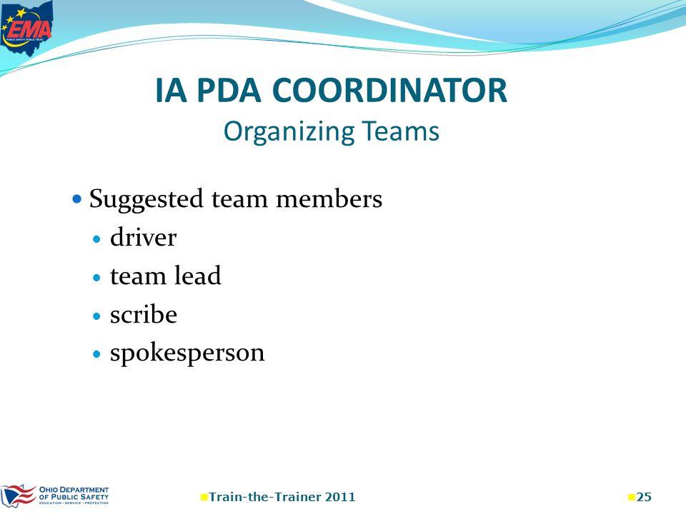 IA PDA COORDINATOR Organizing Teams Suggested team members driver team lead scribe spokesperson Train-the-Trainer 2011 25