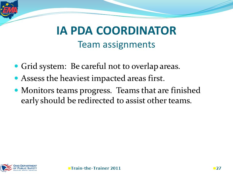 IA PDA COORDINATOR Team assignments Grid system: Be careful not to overlap areas.