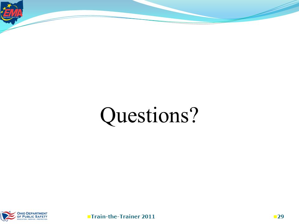 Questions Train-the-Trainer 2011 29