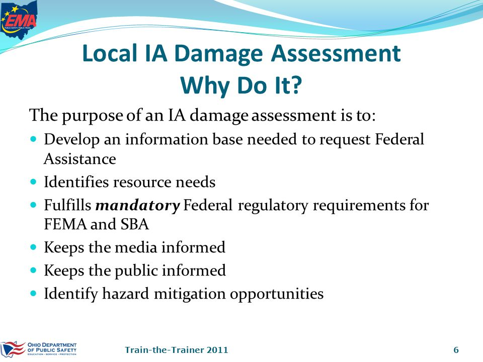Local IA Damage Assessment Why Do It.